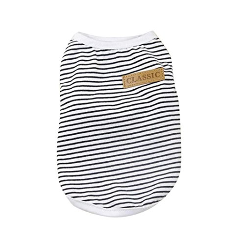 51oq78XPTKL - Pet Shirt Wakeu Puppy Cat Classic Vest Striped T-Shirt Pet Summer Apparel Dog Clothes For Small Dog Boy Dog Girl