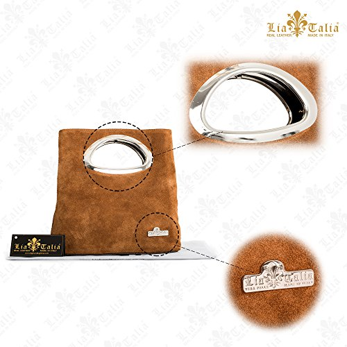 RHEA Italian Metallic Purse Suede Gold Bag Top LIATALIA Leather Clutch Small Foldable Evening Plain Handle zw5EOExq7