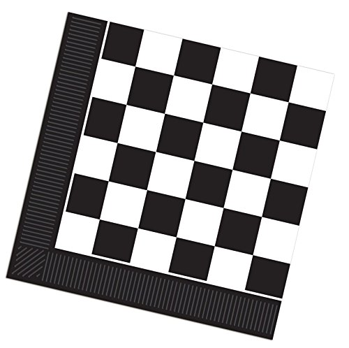 "Custom Made & Disposable {6.5"" Inch} 16 Count of 2 Ply Mid-Size Size Square Food & Beverage Napkins, Made of Soft Absorbent Paper w/ Checkerboard Classic Birthday Party Style {Black & White}"