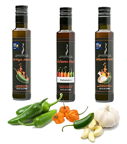 - Calivirgin Flavor-Crushed Extra Virgin Olive Oil Spicy Trio (Hot Virgin Jalapeno, Extreme Heat Habanero, Jalapeno Garlic) Organically and Sustainably Produced - 100% Natural Flavor (8.45 Fl. Oz. Each)