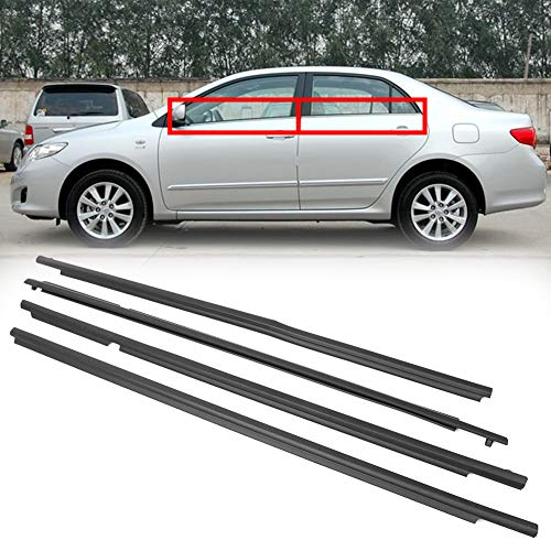 (GZYF Auto Weatherstrip, 4PCS Window Seal Moulding Trim Outer Door Seal Belt Compatible with 2009-2012 Toyota Corolla)