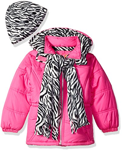 Pink Platinum Little Girls' Puffer Jacket with Zebra Print Lining and Accessories, Bright Pink, 5/6