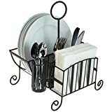 Black Metal Mesh Kitchen / Picnic Buffet Caddy Holder for Utensil, Plates, Napkins with Handle