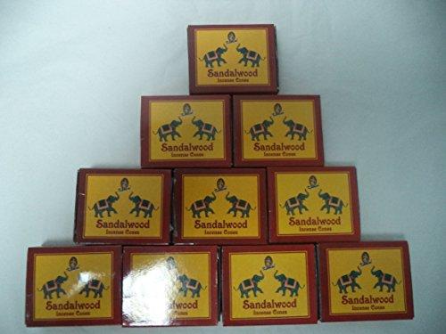 (Kamini Incense Cones: Sandalwood - 10 Packs of 10 = 100 Cones)