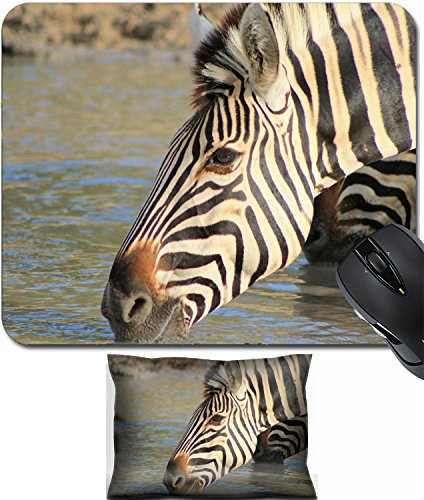 MSD Mouse Wrist Rest and Small Mousepad Set, 2pc Wrist Support design 19729931 Zebra Wildlife from Africa Portrait of a mare drinking precious water on a game ranch in Namibia - Precious Portraits