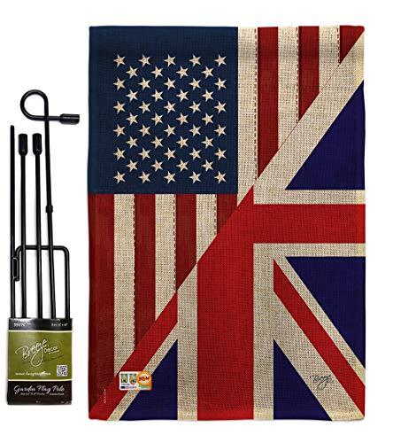 Breeze Decor GS108380-DB US UK Friendship Burlap Flags of The World Impressions Decorative Vertical 13