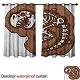 WilliamsDecor Dinosaur Outdoor Curtain for Patio Rex Fossil in The Ground Clip Art Style Dead Bones Archeology Prehistory Theme W108 x L72(274cm x 183cm)