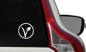 Vegan V Leaf Circle Car Vinyl Sticker Decal Bumper Sticker for Auto Cars Trucks Windshield Custom Walls Windows Ipad Macbook Laptop Home and More (White)