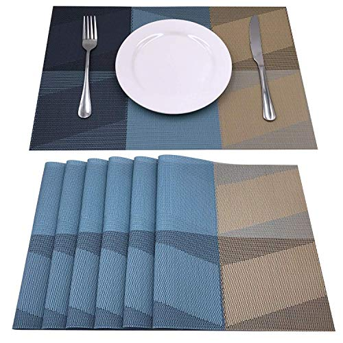 AMZMOO Placemats,placemats for Dining Table Set of 6,Placemats for Table Woven Vinyl Kitchen Placemats,Dining Table Mat Anti-Slip,Heat Insulation PlaceMat,Table Mats Set of 6 (Blue+Brown)