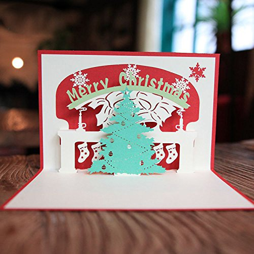 Christmas Greeting Card - Red Merry Christmas Tree 3D laser cut pop up paper handmade postcards custom greeting cards Xmas gifts - 3D Christmas Cards - Christmas Card for Kids