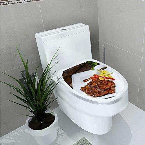 TextileLIHome Decal Wall Art Decor Steak Bathroom Creative Toilet Cover Stickers W13 x L13