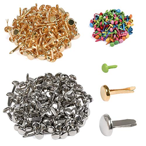 YANSHON 350 Pcs Mini Brads, Round Head Metal Brad Paper Fastener in Three Sizes, Decorative Brads for Arts Crafts Scrapbooking Making and DIY
