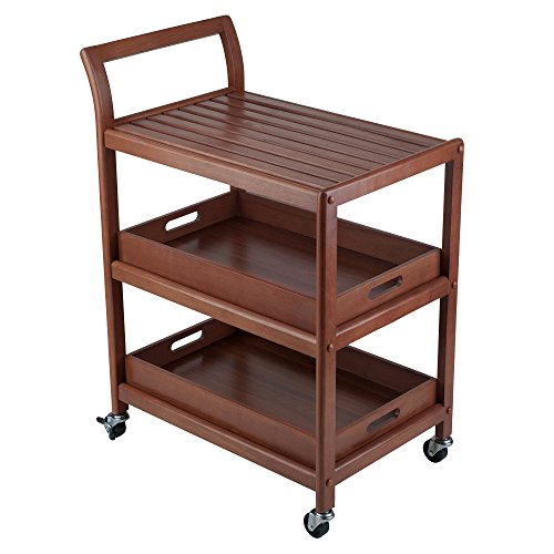 Winsome Albert Entertainment Kitchen Cart, Walnut