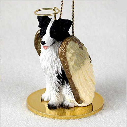 Dog Figurine Collie (Border Collie Dog Figurine Ornament Angel Statue Hand Painted)