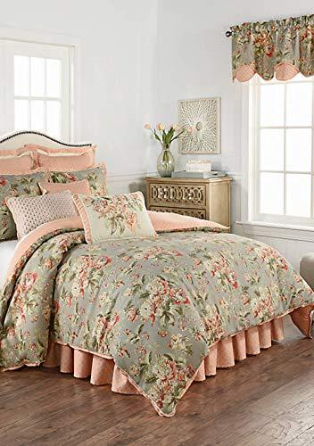 Waverly Fleuretta King Comforter Set in Sage, Coral, Floral Pattern ()