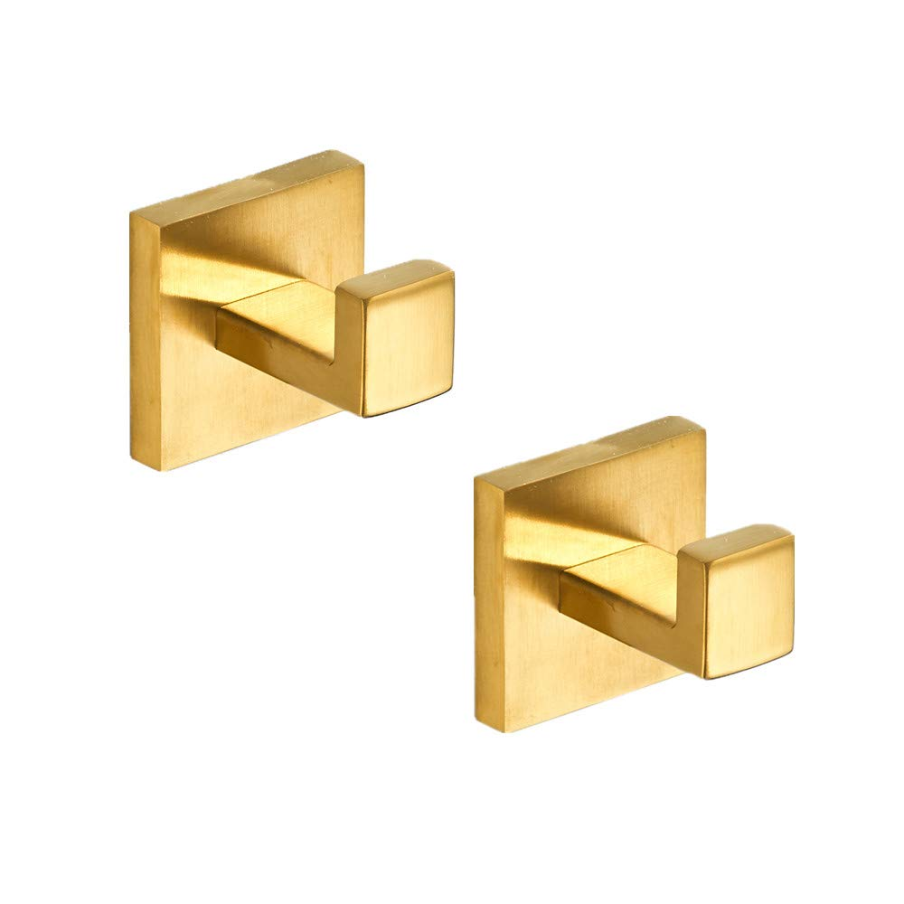 Gold Bathroom Hardware Sets Coats Hooks,Single Hook Stainless Steel Accessory Set Square Clothes hook,Brushed Gold,Hook Wall Mounted