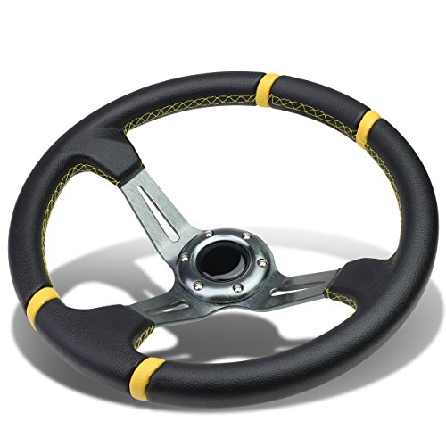 Aluminum Frame Vinyl Leather Cover 350mm 6-Bolt Steering wheels + Horn Button (Gun Metal Spoke/Yellow Stripe)