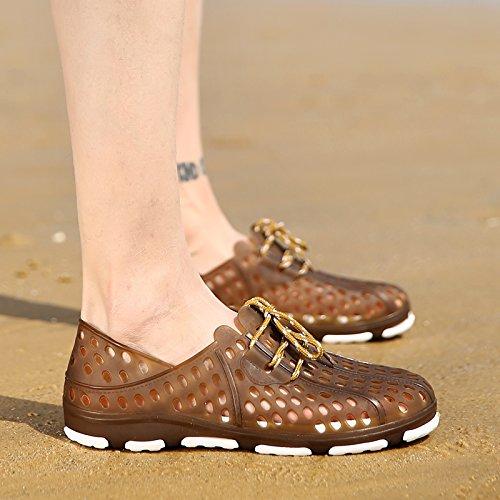 Xing Lin Flip Flop De La Playa Orificio Macho Zapatos De Primavera Y Verano Nuevos Hombres S Hueco Sandalias Informales No - Deslizamiento Juventud Zapatos Sandalias De Playa WY802 brown