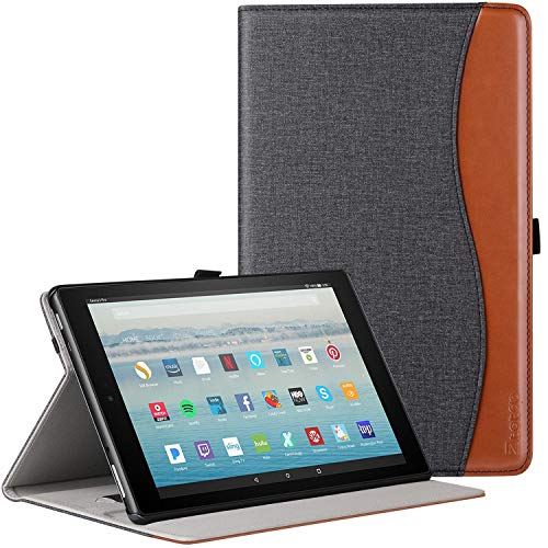 Ztotop Folio Case for All Fire HD 10 Tablet (2017 Release, 7th Generation) - Smart Cover Slim Folding Stand Case with Auto Wake/Sleep for All Fire HD 10 Tablet,Canvas Black and Brown