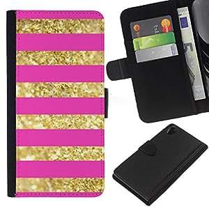 EJOY---La carpeta del tirón la caja de cuero de alta calidad de la PU Caso protector / Sony Xperia Z2 D6502 / --líneas de oro rosa bling del patrón