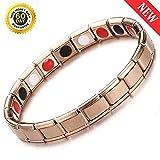 Magnetic Bracelets for Arthritis Men Women Black Almost Magnets Negative Ions Far Infrared Dots Design Health Charms Link Bracelets Gift for Grandpa Grandma (B-Rose Gold)