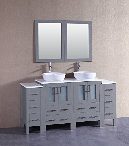 Bosconi AGR224BWLPS2S 72″ Double Vanity Set