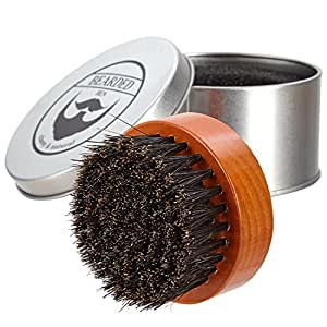 BEARDED BEN SC-129, cepillo de la barba con cerdas de jabalí y caja de almacenamiento de alta calidad para el cuidado profesional de la barba, Teca Brown, diámetro: 6.3 cm