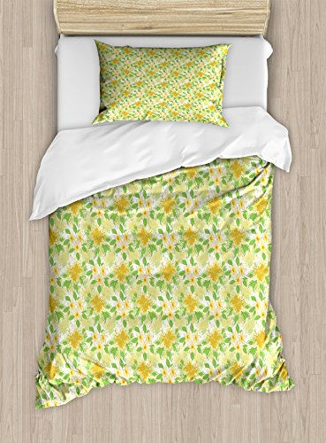 Ambesonne Yellow and White Twin Size Duvet Cover Set, Exotic Hibiscus and Plumeria Flower Composition Hawaii Plants, Decorative 2 Piece Bedding Set with 1 Pillow Sham, Amber Yellow Fern Green by Ambesonne