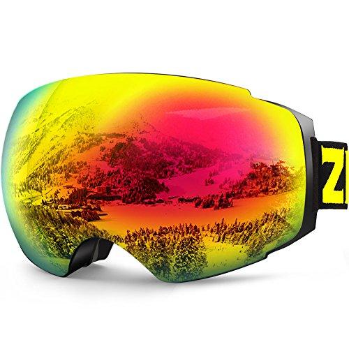 ZIONOR X4 Ski Snowboard Snow Goggles Magnet Dual Layers Lens Spherical Design Anti-fog UV Protection Anti-slip Strap for Men - Snowboard Polarized Goggles