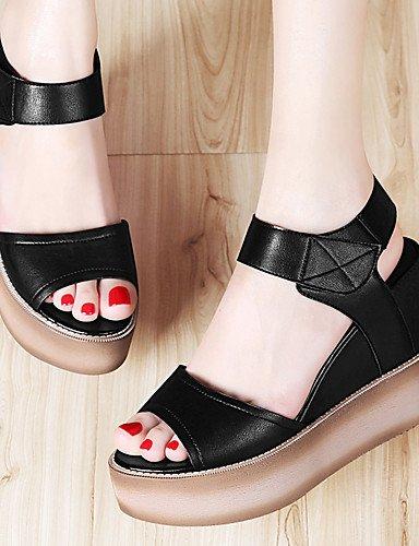 LFNLYX Zapatos de mujer-Plataforma-Punta Abierta / Creepers-Sandalias-Oficina y Trabajo / Vestido / Casual / Fiesta y Noche-Sintético-Negro / Black