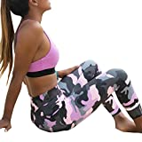 Women Camouflage Sports Yoga Workout Gym Fitness Exercise Athletic Legging Pants (M, Pink)