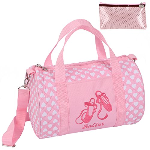 kilofly Girls Ballerina Ballet Tutu Duffel Crossbody Dance Bag + Zippered -