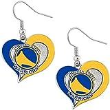 Golden State Warriors NBA Swirl Heart Dangle Earring Set Charm Gift