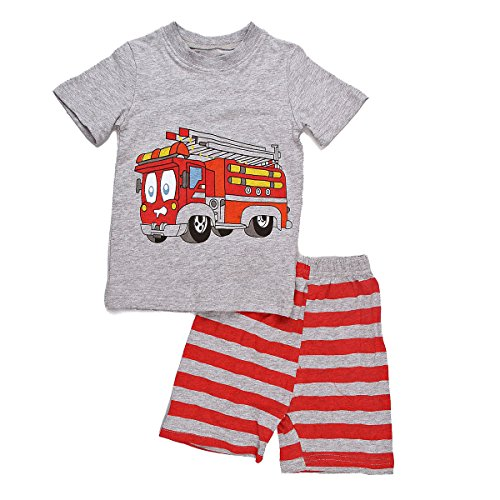 Dreamaxhp Baby Boy Clothes Toddler Boys Pajamas Fire Truck Sleepwear 100% Cotton Cars Costumes ()