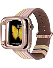 JSGJMY Compatible for Iwatch Band 38mm 40mm 42mm 44mm Women Genuine Leather Loop Replacement Strap for Iwatch Series 5 4 3 2 1