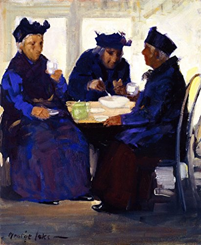 Cutler Miles Tea Party by George Benjamin Luks Hand Painted Oil on (Tea Party Canvas Reproduction)