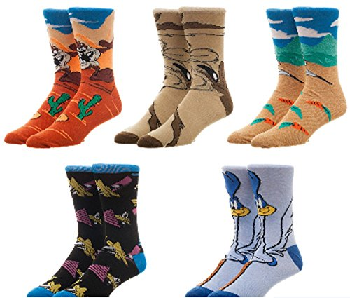 Looney Tunes 5 Pair Casual Crew Socks,Multicoloured,10-13