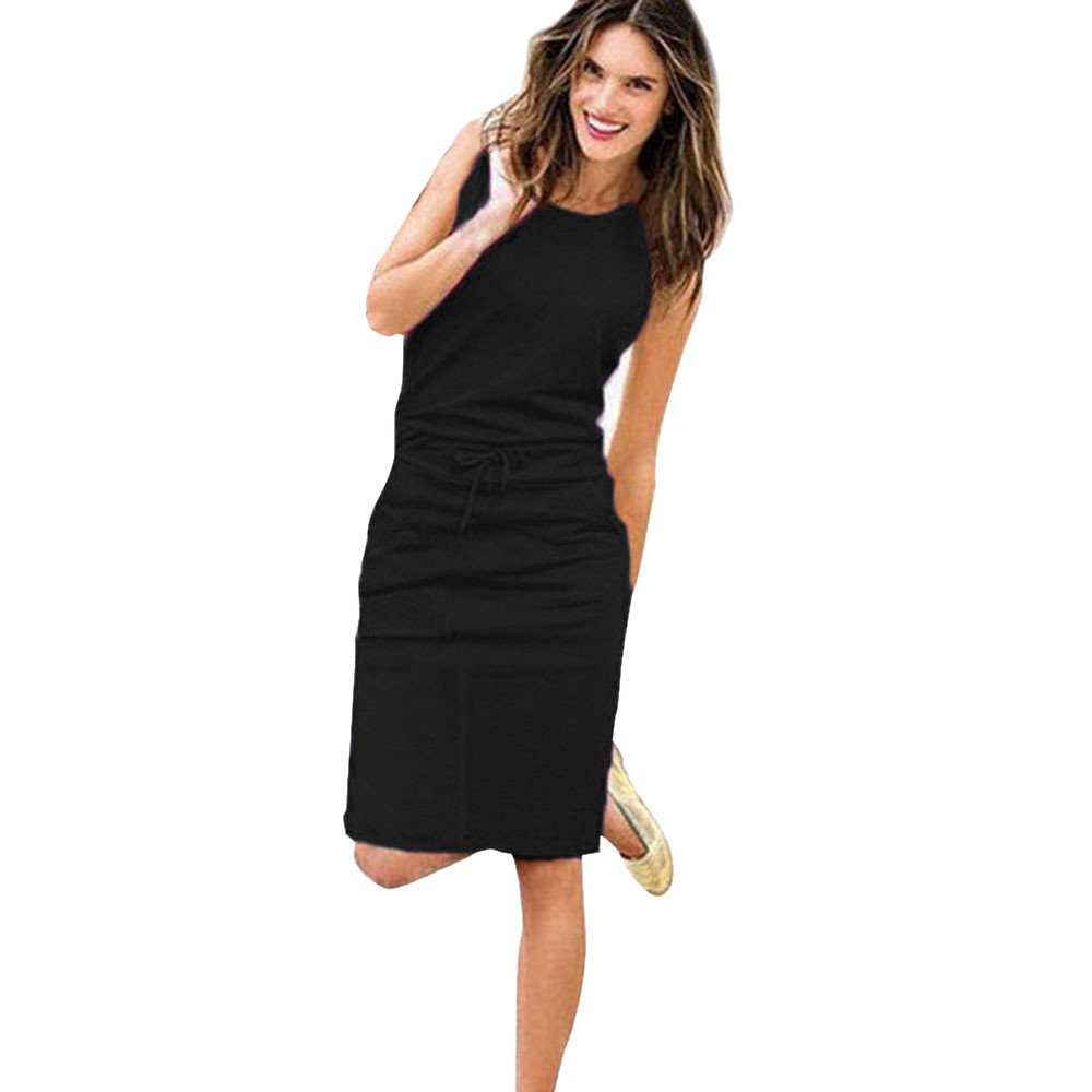 POTO Dress for Women,Solid Sleeveless Bodycon Mini Dress Casual Evening Party Dress Beach Tank Dress Sundress (M, Black)