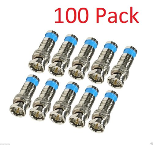 WennoW 100 Pack BNC Male Waterproof Compression Connector for RG59 Coax Cable CCTV