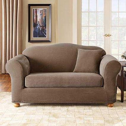 Amazon Com Sure Fit Stretch Pique Two Piece Sofa Slipcover Home