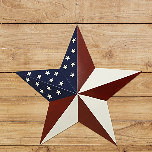 Y&K Decor Patriotic Old Glory American Flag Barn Star Rustic Metal Dimensional 3D Star 4th of July Wall Decor (21'') by YK Decor (Image #4)