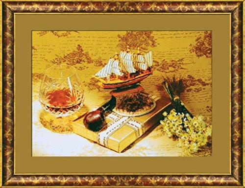 Beadwork kit Charivna mit #B-578 Romantic travelling Flowers Gift Glass Tube 42.5x29.5 cm / 16.54x11.42 - Glasses Mit
