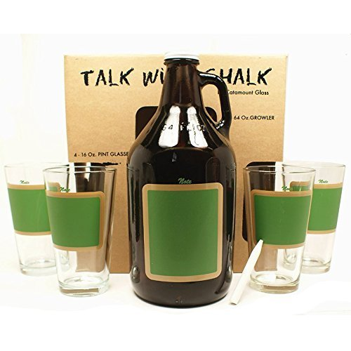 Glass Growler and 4 Pint Glasses Chalkboard / Amber, #15163 by Catamount