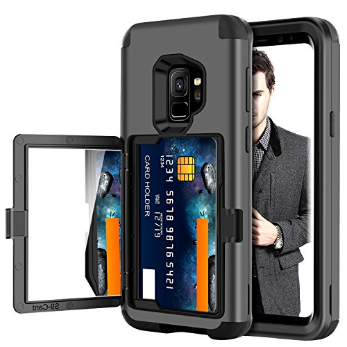 BENTOBEN Case for Galaxy S9, Slim Shockproof Heavy Duty Rugged 3 in 1 Hybrid Soft TPU Bumper Hard PC Cover Anti-Scratch Full-Body Protective Case with Card Slot Holder for Samsung Galaxy S9, Black