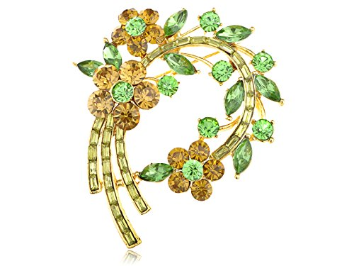 Alilang Topaz Green Crystal Rhinestone Fresh Spring Floral Flower Leaf Wreath Pin Brooch (Floral Leaf Pin)