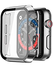 Langboom Hard Case Compatible with Apple Watch SE Series 6 Series 5 Series 4 with HD Tempered Glass Screen Protector, iWatch Ultra Thin Overall Protective Cover