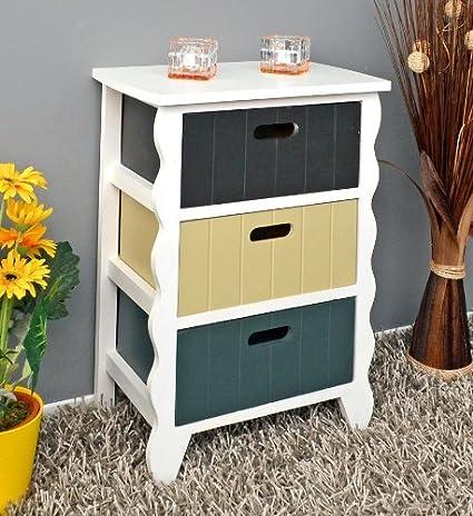 Cómoda blanca con borde de diseño con onda con 3 cajoneras de color gris,beige y marrón para pasillo, baño cocina: Amazon.es: Hogar
