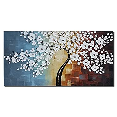 Wieco Art - Blooming life 100% Hand-painted Oil Painting, Stretched and Framed Modern Canvas Wall Art for Home Decor Floral Oil Paintings on Canvas Art 24 by 48 inch
