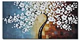 Image of Wieco Art - Blooming life Extra Large Modern Stretched and Framed White Flowers Artwork 100% Hand Painted Floral Oil Paintings on Canvas Wall Art for Living Room Bedroom Home Decorations 48x24inch