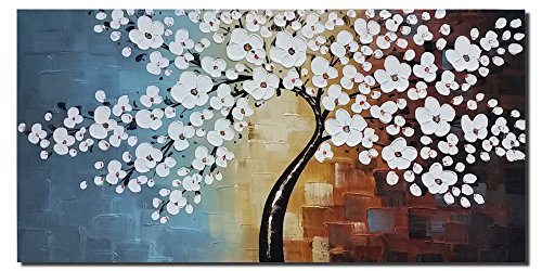 Wieco Art Blooming life Extra Large Abstract Floral Oil Paintings on Canvas Wall Art for Living Room Bedroom Home Decorations Modern 100% Hand Painted Gallery Wrapped White Flowers Artwork 48 x 24